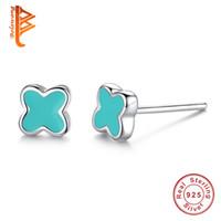 Wholesale Girls Enamel Earrings - BELAWANG Authentic 925 Sterling Silver Pink&Blue Enamel Lucky Four Leaf Clover Stud Earrings For Women Girl Fashion Earring Jewelry Gift