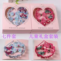 Wholesale Gift Box Bows Wholesale - Fashion children bow hair flower girl band set seven piece children hair ornaments gift box