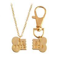 Wholesale Jewels Dog - Wholesale- 2 pcs set Dog Bone Best Friends Necklace & Keychain Keyring For Women Men Charm Broken Bones Animal Pet Chain Friendship Jewel