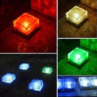 Wholesale Garden Solar Brick - Wholesale- Solar Powered LED Lamp Garden Ground Light Path Ice Brick Road Yard Light Outdoor