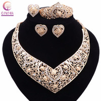 Wholesale Crystal Beads Bracelet Design - Bridal Wedding African Beads Jewelry Sets Gold Plated Crystal Women New Design Heart Necklace Earrings Bangle Ring Jewelry Sets