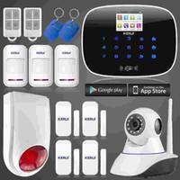 hırsız hırsız alarm sistemi toptan satış-LS111-APP GSM alarm sistemi G19 RFID Kablosuz / Kablolu Ev Hırsız Alarm Hırsız Sistemi + KERUI Ağ wifi HD ip Kamera alarm sistemi