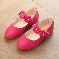 Wholesale Wholesale Heel Sneakers - Kids Girls Shoes Baby Girls Pearl Flower Casual Sneakers 2017 Autumn Infant Princess PU Leather Low-heeled Shoes Children Sandals Size 21-36