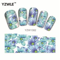 Wholesale polish tattoos - Wholesale- YZWLE 1Pcs Nail Art Water Sticker Nails Beauty Wraps Foil Polish Decals Temporary Tattoos Watermark(YZW1382)