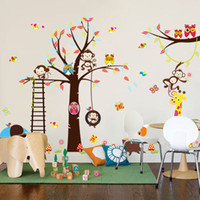 Wholesale People Monkeys - [Fundecor ]Diy Cartoon Happy Monkey Owl Tree Wall Decals Vinyl Wall Stickers For Kids Rooms Baby Bedroom Home Decor