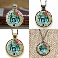 Wholesale notes necklace - 10pcs G Clef Mus Note EA1 Jewelry glass Necklace keyring bookmark cufflink earring bracelet