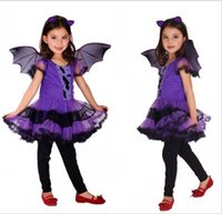 Wholesale Bat Girl Outfit - 3 styles Hot selling Halloween New Purple bat girl Cosplay Dress Party Outfit Europe and America style Halloween party clothing free ship