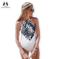 Wholesale Maternity Bikini Swimsuits - 2017 Sexy White Black Leaf Printed Trikini High Cut Bathing Suit Bodysuit Monokini Maternity Swimwear Women One Piece Swimsuit