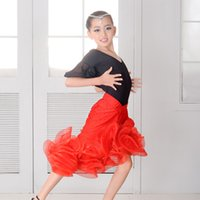 Wholesale Dancing Top For Girls - green red orange modern dance costumes kids Latin dance set top and skirt for girls rumba tango dance competition samba costume