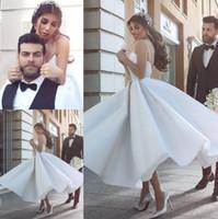 Said Mhamad New 2020 Tea Length Wedding Dresses A Line Spaghetti Straps Backless Short Bridal Informal Summer Wedding Reception Gowns