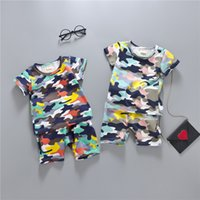 Wholesale Camouflage Sleeves T Shirts Children - 2017 Summer Children Boy Clothes Sets Kids Sports Suit Short Sleeves T-Shirt Toddler Suits Camouflage Shorts For Boy Clothing