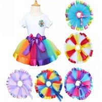 Wholesale Kids Rainbow Gown - Hot Children Rainbow Tutu Dresses New Kids Newborn Lace Princess Skirt Pettiskirt Ruffle Ballet Dancewear Skirt Holloween Clothing