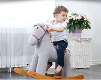 Wholesale Swedish Trojan horse rocking chair baby toy real wood music shake the horse to write card gift gift to the treasure helper