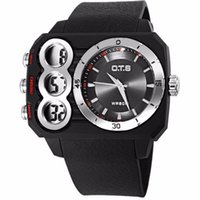 Men's black ots - OTS Fashion Quartz Watch Men Sport Watches Double Movement Waterproof LED Digital Watch Personality Rubber Military Wristwatch