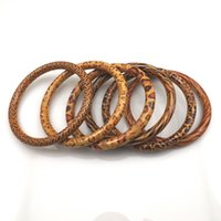 Wholesale paintings indian - 7.5mm Painted Wood Bangles Wholesale 24pcs Free Shipping Guaranteed Mixed Design Leopard Bangle For Promotion