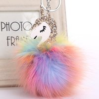 Wholesale Leather Unicorn - 2017 Anime Horse Keychain Cute Unicorn Key Chain Pendant Women Car Styling Fluffy Fur Pompom Keyring Bag Hang Trinkets