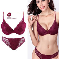 Wholesale Pink Lace Bra Panties - 68Z Women Lady Cute Sexy Underwear Satin Lace Embroidery Bra Sets With Panties New shipping from Factory
