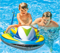 piscine à jet piscine achat en gros de-Jet 117x77cm Ski Boat Inflatable Children Pool Float Rafts Water Summer Fun Enfants Sports baignade tubes eau flottante Moteur enfants ride ring