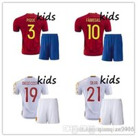 Wholesale Spanish Boys - 2016 Spain kids home away Jerseys ISCO SILVA A.INIESTA Soccer Jersey shirt kits Children Spanish youth MORATA football Kit
