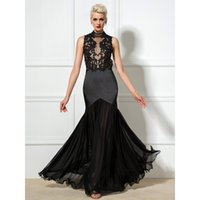 Wholesale Sexy Neck Design Dress - 2017 New Design Sexy Black Evening Dresses Mermaid High Neck Backless Appliques Floor-Length Real Photos Red Carpet Gowns