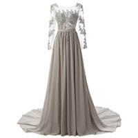 Wholesale Embroidered Sequin - Sexy Formal Evening Dresses Elie Saab With long sleeve Lace Edged backless cheap Long Sheer Prom Party Gowns Evening Wear Dress