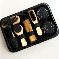 Wholesale sole stock for sale - Group buy 8pcs set Men Women Wood Suede Sole Shoe Cleaner cleaning brush shoe polish Leather Surface Brush Kit For Travel On Business
