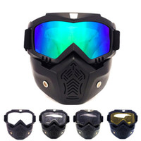 Wholesale Golden Motor - 2016 Ski Bike Motorcycle Face Mask Goggles Motocross Motorbike Motor Open Detachable Goggle Helmets Vintage Glasses Universal free Shipping