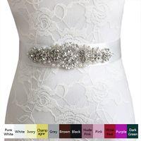 Wholesale Cummerbunds Beads - Women Belts 10 Color High Quality Rhinestone Ribbon Bridal Cummerbunds Bride Bridesmaid Waist Belt Wedding Dress Bead Flower Sashes