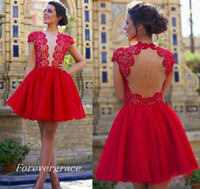 2017 Cheap Cap Sleeves Red Lace Mini vestido de casamento curto A Line Juniors Sweet 15 Graduation Cocktail Party Dress Plus Size Custom Made