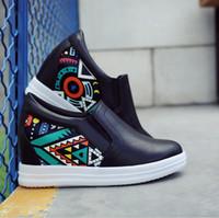Wholesale Black Elevator Boots - Hot Sales New 2017 Autumn Black White Hidden Wedge Heels Casual Shoes Women's Elevator High-heels boots For Women