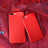 Wholesale Hand Textures - Metallic paint Soft TPU Chinese red Matte texture phone case Scrub great hand feel cases for iphone 6s plus iphone 7 case