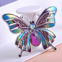 Grossiste- Bijoux Vintage Grande Emaille Esmaltes Broches Papillon Broche Broche Broche Broche Mariage Violetta Insect Hijab Pin Up Broches