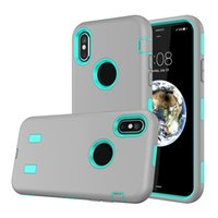 Silicone Plastique Résistant Aux Chocs Pas Cher-Robot Hard Shockproof Case pour iphone X 5.8inch IphoneX iX Hybrid Cover Dual 2in1 Plastique + Silicone Armor Defender Cell Phone Back Skin
