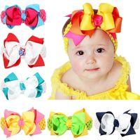 Wholesale Wholesale Girls Hair Bubbles - Baby Girls Double Bubble bowknot Headbands Children Grosgrain Ribbon Hair Bows