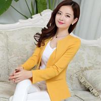 trajes de mujer al por mayor-Las mujeres de primavera delgada chaqueta blazer nueva moda chaqueta casual de manga larga traje de un botón para mujer Blazers trabajo trajes de negocios