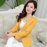 Wholesale Ladies New Suit - Spring Women Slim Blazer Coat New Fashion Casual Jacket Long Sleeve One Button Suit Ladies Blazers Work Business Suits