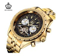 Wholesale Orkina Mens - MG. ORKINA Golden Mens Automatic Mechanical Wrist Watch Black Dial Glass Day Date Month Relojes Male