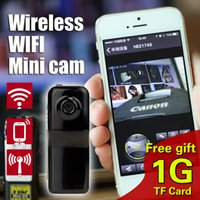 Wholesale micro wireless hidden camera - Wholesale-free1GB TF Card MD81S Mini Camcorder Wireless WiFi Portable Camera Mini DV Micro IP Voice Video Recorder Espia hidden Cam