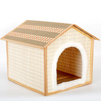 Wholesale Dog Warming Mat - Bamboo Weaving Pets House Pets Articles Dog Cage House Kennel Plush Mat big warm Teddy plush pet bed dog cat houses