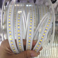 Wholesale Ac Power Cable Pc - 164ft  100m High Lumens 120leds m SMD 5730 Led Strips Flexible Ribbon Rope Light AC 100-120V   200-240V Waterproof + Power Supply Cable