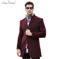 Men Turtleneck Long Sleeve Wholesale- 2016 Mens Cashmere Coat Winter Wool  Long Coats Formal Businessman 69769bcd036a
