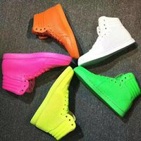 Wholesale Neon Green Orange Shoes - 2017 new men women high top fluorescence new style real leather casual shoes neon yellow green luxury men's brand shoes eur 36-45