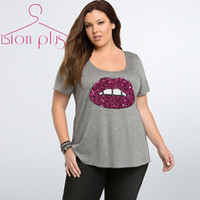 Wholesale Tshirt Printing China - Wholesale- Sequin tshirt women 5XL 6XL Plus Size 2015 Summer Bust Red Lips Fashion Women Clothing cheap-clothes-china O-Neck woman cloth