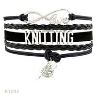 Wholesale Silver Mint Bracelet - (10 Pieces Lot) Infinity Love Knitting Yarn Charm Bracelet White Light Blue Black Mint Blue Saddle Brown Leather Wrap Bracelet Any Themes
