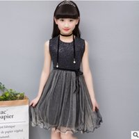Wholesale Mesh Bows Christmas - Children's Princess Dress New 2017 Summer Girls o-Neck Lolita Style Bow Dress Black Color Size4-14 Lace Mesh Dress ly291