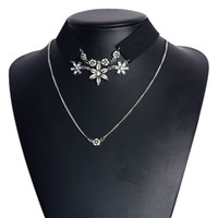 Wholesale 14k Pink Diamond - New Women Necklaces High Quality Jewelry Multilayer Diamond Flower Clavicle Necklace Wide Black Pink Velvet Necklace Jewelry