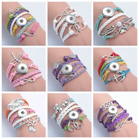 40 Styles Snap Button Braceletes Multilayer Woven Leather Bracelets Silver Cross Anchor Love Infinity Sea Horse Knitting Diy Charm Bangles
