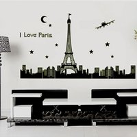 Wholesale Eiffel Tower Stickers - Paris Eiffel Tower Wall Decal Building Architecture Luminous Wall Stickers PVC Wall Stickers Environmental Bedroom Sticker Decals