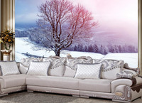 Compra Pitture Murali Esterne-Nuovo 3D personalizzato bello stereo all'aperto Inverno Snowy Background Wall Paintings carta da parati per le pareti 3 d per salotto
