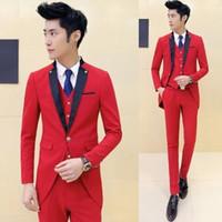 Wholesale Long Sleeve Vest For Groom - Latest Designs Red Tailcoat Tuxedo Wedding Suits For Men 3 PCS Set (Jacket+Vest+Pants) Slim Fit Mens Suits Groom Terno
